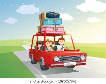 Family road trip. travel by car with kids. Vector, illustration.
