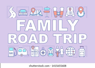 Family road trip word concepts banner. Time together. Hometown trip with children. Outdoor activity. Presentation, website. Isolated lettering typography idea, linear icon. Vector outline illustration