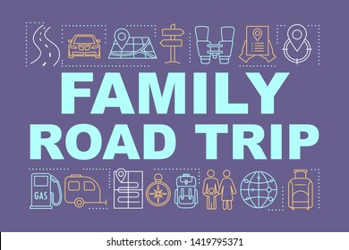 Family road trip word concepts banner. Time together. Hometown trip with children. Presentation, website. Outdoor activity. Isolated lettering typography idea, linear icon. Vector outline illustration