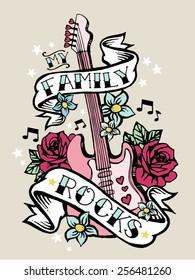 Family Rocks Girls Rock Tshirt Screenprint