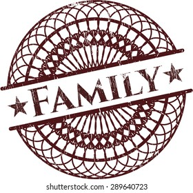 Family rubber grunge stamp