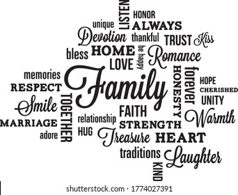 family rules inspirational quotes and motivational typography art lettering composition vector