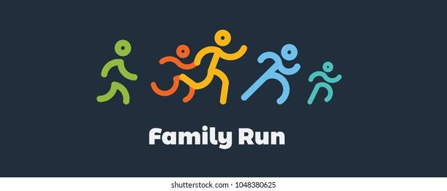family run race. colorful Runners. logo for running competition. vector illustration