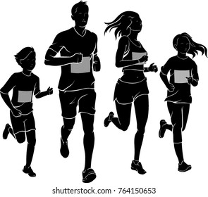 Family Run Race Silhouette