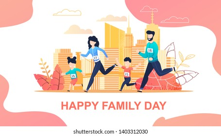 Family Running Marathon in City Flat Cartoon. Mother, Father, Son Daughter Jogging Together. Active and Healthy Lifestyle. Parents and Children Care and Relationships. Vector Motivational Illustration