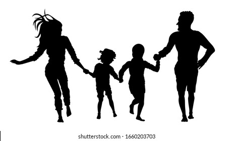 Family running silhouette vector illustration. Father, mother, daughter and son having fun.