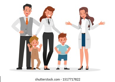Family to see Doctor in hospital character vector design. Presentation in various action with emotions, smile and happy.