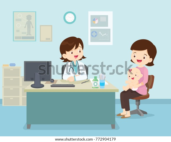 Family to see Doctor sitting at the table in hospital, infirmary, clinic.healthcare concept.Character professional physician on workplace illustration.Mother and her baby with doctor.