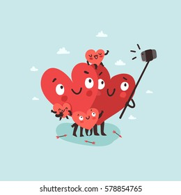 Family selfie. Hearts characters as symbols of love and family making selfie with smartphone and selfie stick. Vector colorful illustration