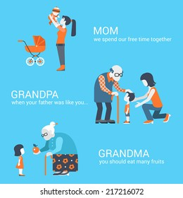 Family seniors parents children kids people concept flat icons set of mother son grandpa granny grandma granddaughter grandchild website click for infographics design web elements vector illustration