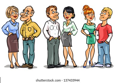Family set, Couples at different ages. Hand drawn cartoon family members isolated, sketch