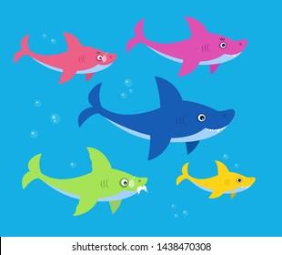 The family shark bright children illustration. Art for kids books. Mommy, daddy, grandma and granddaddy sharks family.