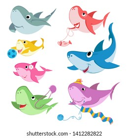 Family shark set of colorful cartoon fish character isolated on white background. Baby, Mama, Papa, Grandma, Grandpa and Sister Shark