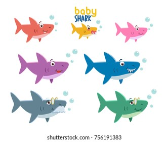Family shark set of colorful cartoon fish character isolated on white background. Baby, Mama, Papa, Grandma, Grandpa and Sister Shark.