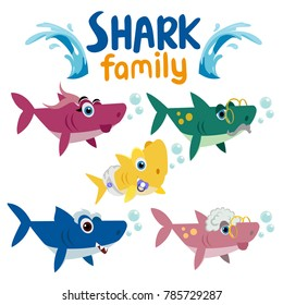 Family shark set of colorful cartoon fish character isolated white background. Baby, Mama, Papa, Grandma, Grandpa and Sister Shark. Baby, Mama, Papa, Grandma and Grandpa Shark. Young and Old Shark.