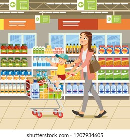 Family Shopping Cartoon Vector Illustration with Woman Riding Boy on Shopping Cart Full of Groceries near Shelves with Food Products in Supermarket. Mother with Child Making Purchases in Grocery Store