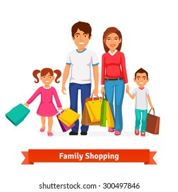 Family shopping. Father and mother, brother and sister are holding in hands lots of shopping bags.  Flat style vector illustration isolated on white background.