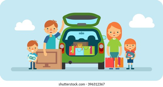 family shopping flat illustration