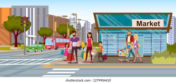 Family Shopping Flat Vector Concept with Happy Parents with Kids, Walking on City Street, Carrying Shopping Packets and Cart Full of Goods after Leaving Grocery Store Illustration. Consumers Loan