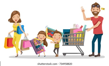 Family shopping in Holiday. Happy family with shopping. Father, mother, son, daughter.    Big discount. Purchasing of goods, gifts, Toys, dolls, cars. Vector illustration