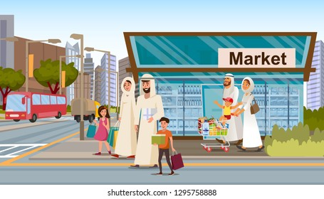 Family Shopping in Muslim District Flat Vector. Happy Muslim Parents wearing in arabic ethnic clothes walking street with kids, carrying packets, leaving grocery store with shopping cart full of goods