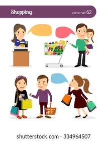 Family shopping. People with shopping bags and speech bubbles
