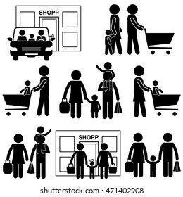Family Shopping, Store / Supermarket Visiting. Stick Figure Pictogram Icon Vector