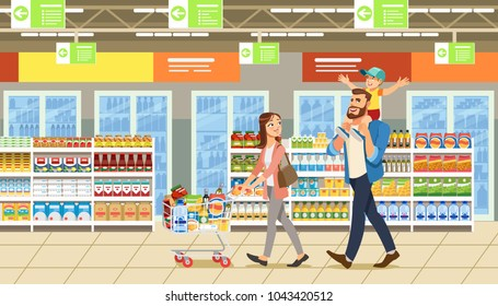 Family shopping in supermarket with product cart. Father holding son on his shoulders. Fun lifestyle of cartoon characters in mall. Vector illuctration of parents and child at shop.