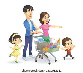 Family Shopping, Vector EPS 10