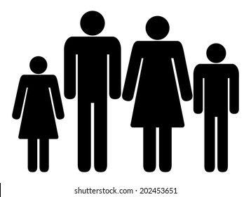 Family sign, black silhouette of mother, father, son and daugther. vector art image illustration icon, isolated on white background