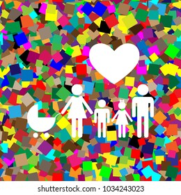 Family sign with heart. Husband and wife are kept children's hands. Vector. White icon on colorful background with seamless pattern from squares.