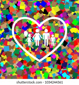 Family sign illustration in heart shape. Vector. White icon on colorful background with seamless pattern from squares.