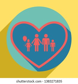 Family sign illustration in heart shape. Sunset orange icon with llapis lazuli shadow inside medium aquamarine circle with different goldenrod shadow at royal yellow background.
