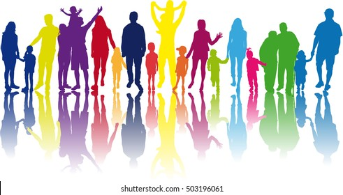 Family silhouetes . Large collection of silhouettes concept.
