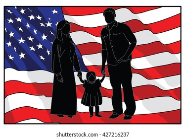 Family silhouette in the background of the American flag