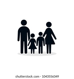 Family Silhouette Icon, Vector isolated simple family flat design illustration.