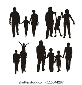 family silhouette isolated over white background. vector illustration