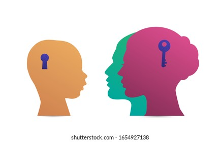 Family silhouette mother, father, son. Concept psychology of family relations, communication between adults and children. Vector illustration