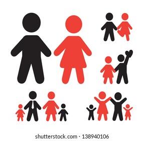 family silhouette over white background vector illustration