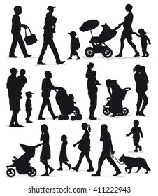 Family silhouettes - Black vector outlines of adults and children isolated