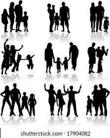 Family Silhouettes In different situations