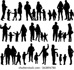 Family silhouettes - large group.