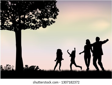 Family silhouettes in nature