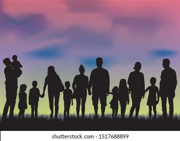Family silhouettes in nature, vector work.