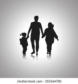 Family Silhouettes with shadow. Vector icon black