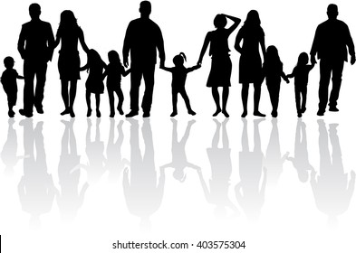Family silhouettes. Vector work.