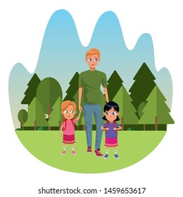 Family single father with kids holding school backpack in the nature park, landscape background ,vector illustration.
