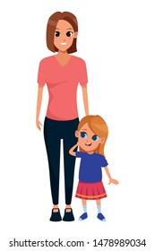 Family single mother with little daughter cartoon vector illustration graphic design