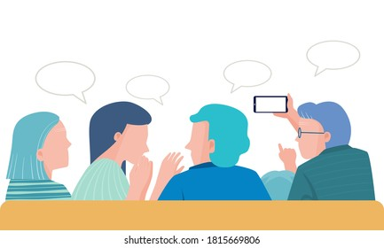 Family sit on the couch and talking together, mom dad and senior with child talking and watching  about news with their   smartphone. flat vector illustration