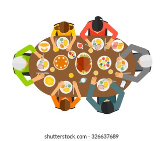 Family sitting at dining table, top view. Big family eating festive dinner, vector illustration